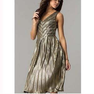 Ark & Co • Metallic Pleated Dress